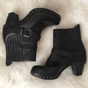DANSKO Black Leather Clog Covered Heel Ankle Boots